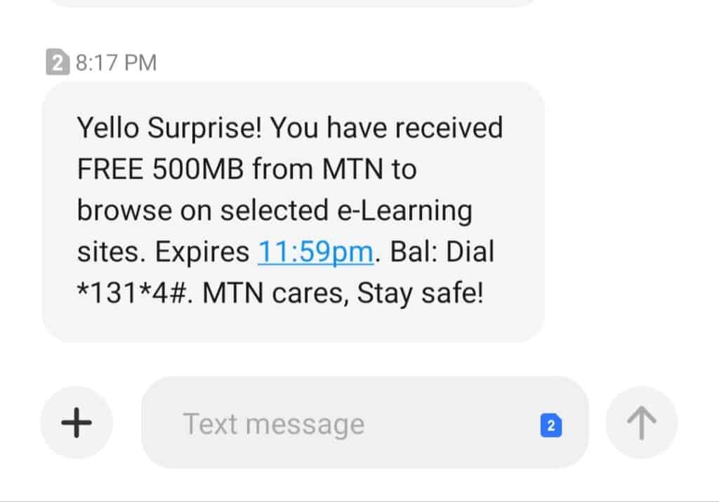 Mtn 500Mb Free browsing data Cheat for July / August 2021